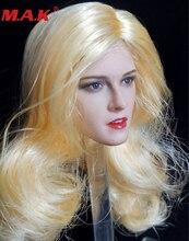 brown yellow black hair 1/6 scale Kristen Stewart head sculpt carved long female woman girl headplay model for 12 body