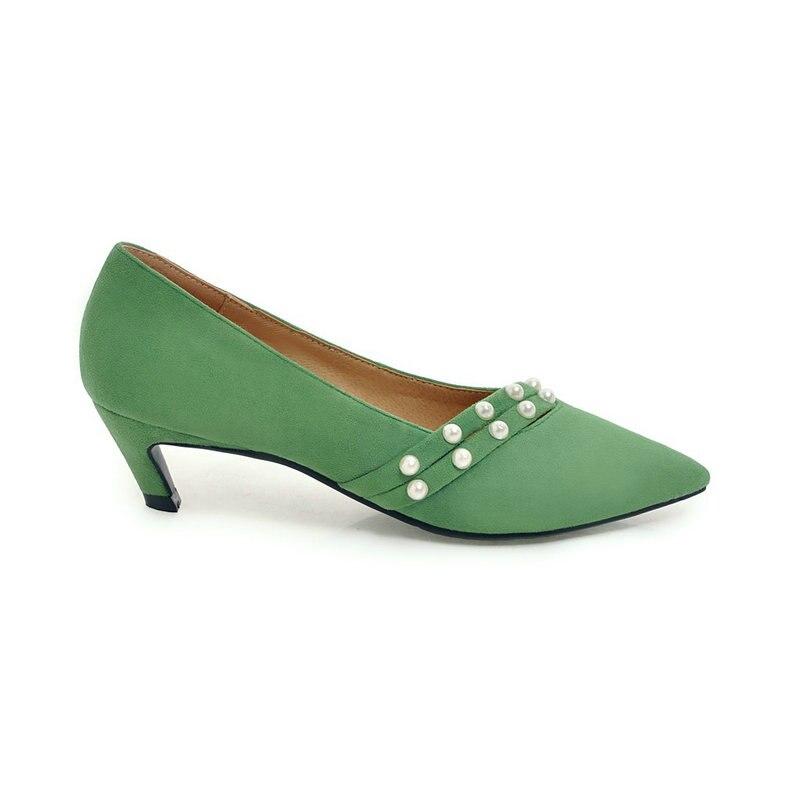 Chaussures Vert Troupeau Mode Automne Pompes Talons jaune Femmes Noir Pointu Printemps Faible Noir Jaune Casual vert rose Rose Bout Paresseux xqqARYOr