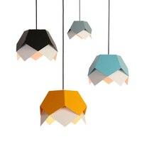 Modernist Art Decor Hanging Light E27 Bulb Simple Geometrical Metal Pendant Lamp For Restaurant Bedroom Living