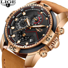 Reloj de cuarzo analógico de lujo LIGE a la moda para hombres, reloj cronógrafo militar resistente al agua para hombres, reloj + caja