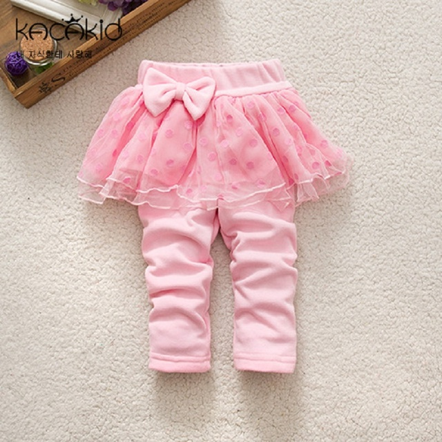 c576a3de1a7d7 Kacakid baby girls Skirt-Pants kids Bow Skirt Autumn Girls velvet thick  Leggings Princess Skirt Cotton Tutu Trousers