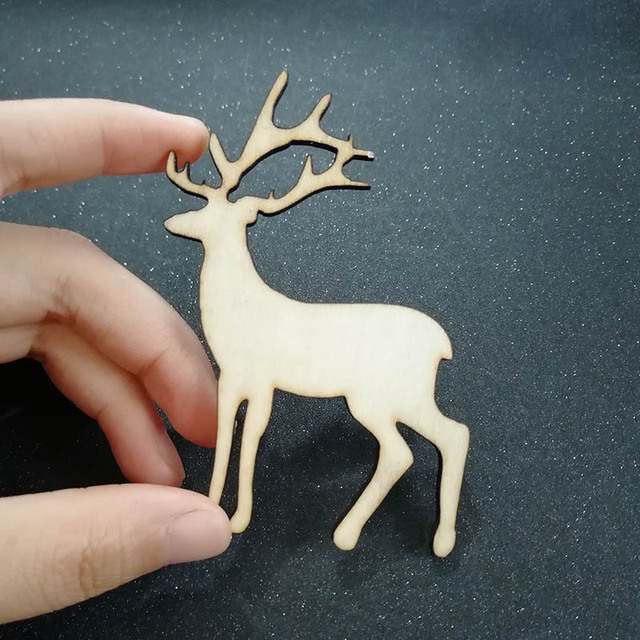 50pcs Unfinished Wooden Reindeer Decorations Christmas Tree Ornaments Diy Craft Natural Wood Sbooking Embellishment