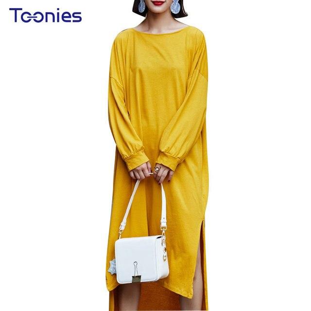 fcd5b936a164 Autumn Long Dresses Yellow Dress Loose Type O-neck Irregular Front Short  Back Long Solid High Street Dresses Oversized Vestidos