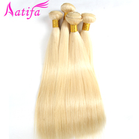#613 Brazilian Straight Hair Bundles Human Hair Weave Bundles 3pcs Blonde Color 10 28 inch Aatifa Remy Hair Extension