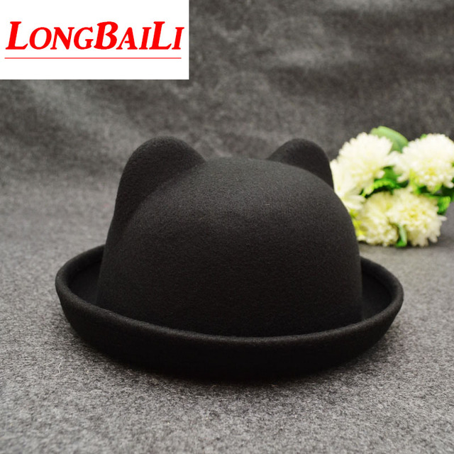 52fe879c9e06b Winter Artificial Wool Bowler Hats For Children Fedoras Cute Baby Top  Bucket Hats With Ears Free Shipping SDXB002