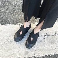 2018 autumn new sleek minimalist black canvas shoes women retro style Mary Jane casual flat shoes.