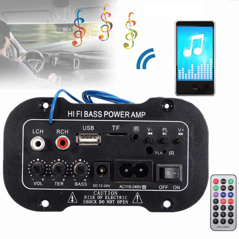 220V Per Auto Bluetooth 2.1 Hi-Fi Bass AMPLIFICATORE di Potenza Mini Auto Amplificatore Car Stereo Radio Audio Amplificatore Digitale USB TF A distanza