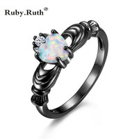 Fashion Wedding Love Heart Opal Ring Fashion White CZ Jewelry Black Gold Filled Engagement Promise Wedding