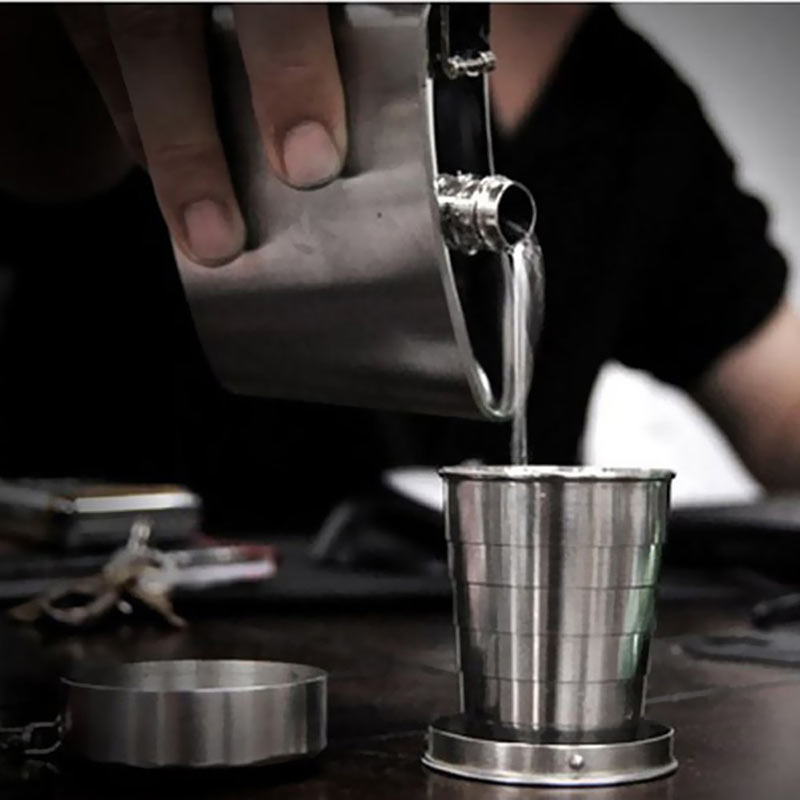 Mini Stainless Steel Portable Outdoor Travel Camping Folding Collapsible Cup Telescopic Mug With Keychain 75Ml 150Ml 240Ml (12)