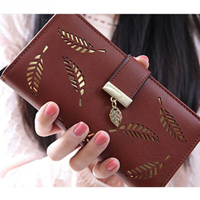 цена на Hollow Leaf Zipper Hasp Long Clutch Bag Women Fashion Leaf Print Purse Phone Cards Multifunction Wallet 5 Colors