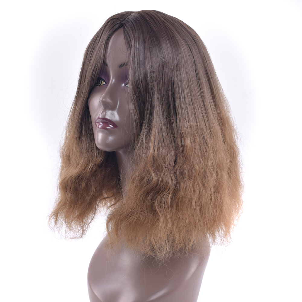 Soowee Brown To Yellow Ombre Color Short Synthetic Hair Cosplay Wig Kinky Curly Bob Burgundy Wigs for Black Women