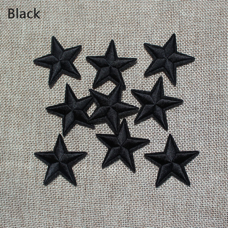 New arrival 10 pcs Black Color little star Embroidered patches iron on cartoon Motif Applique DIY nembroidery accessory