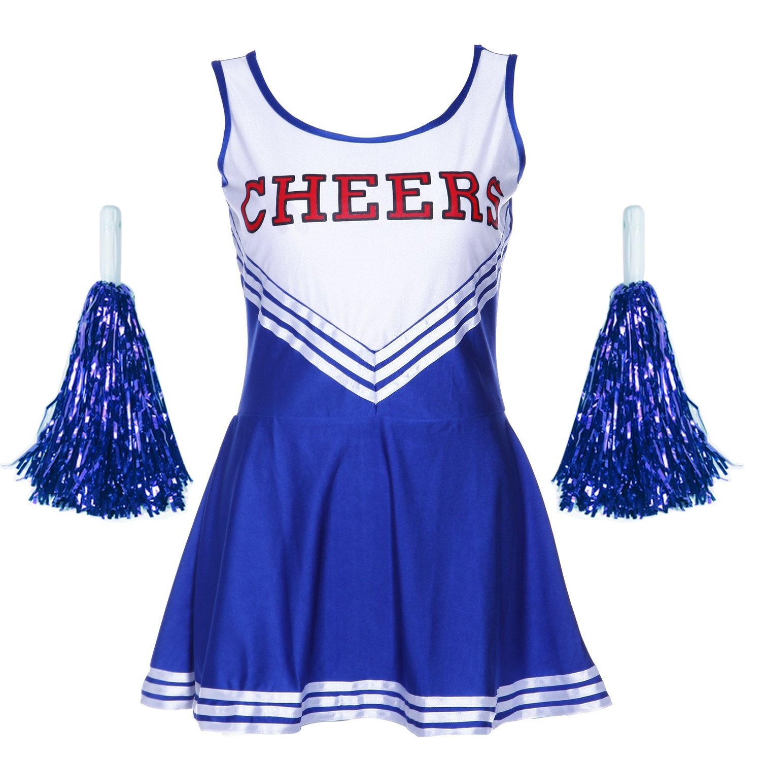 Pom-pom girl tank top dress cheer leader blue suit costume XL (42-44) school
