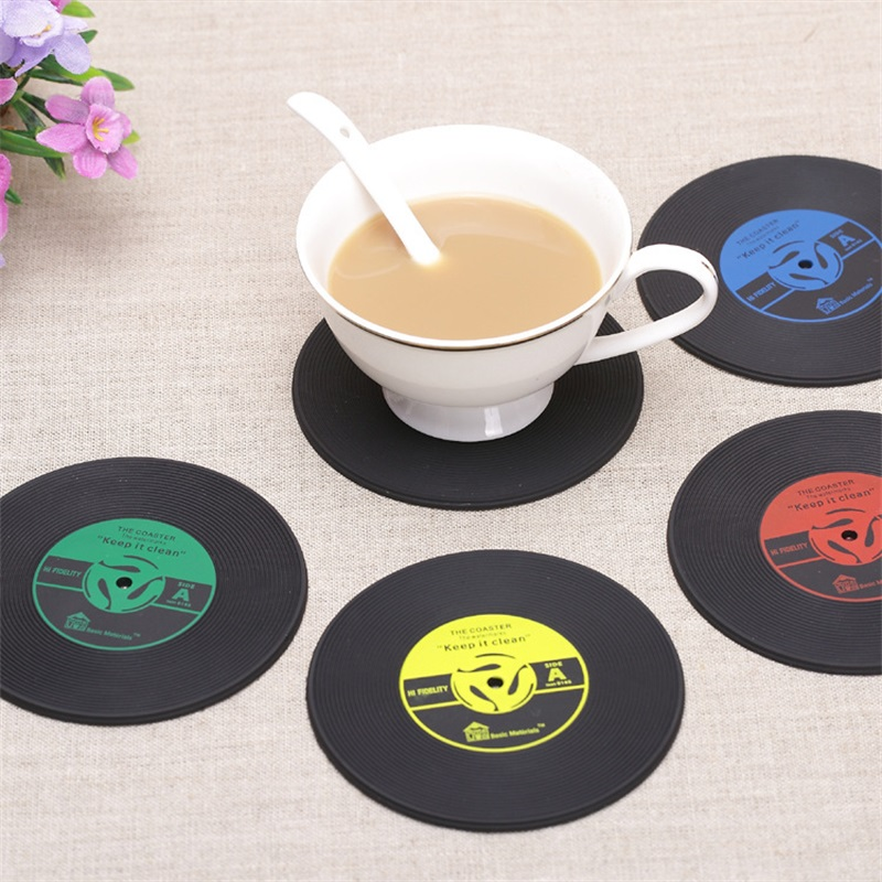 4pcsset creative table cup mat coffee drink tableware placemat retro vinyl coaster cd record drinks coasters home decor