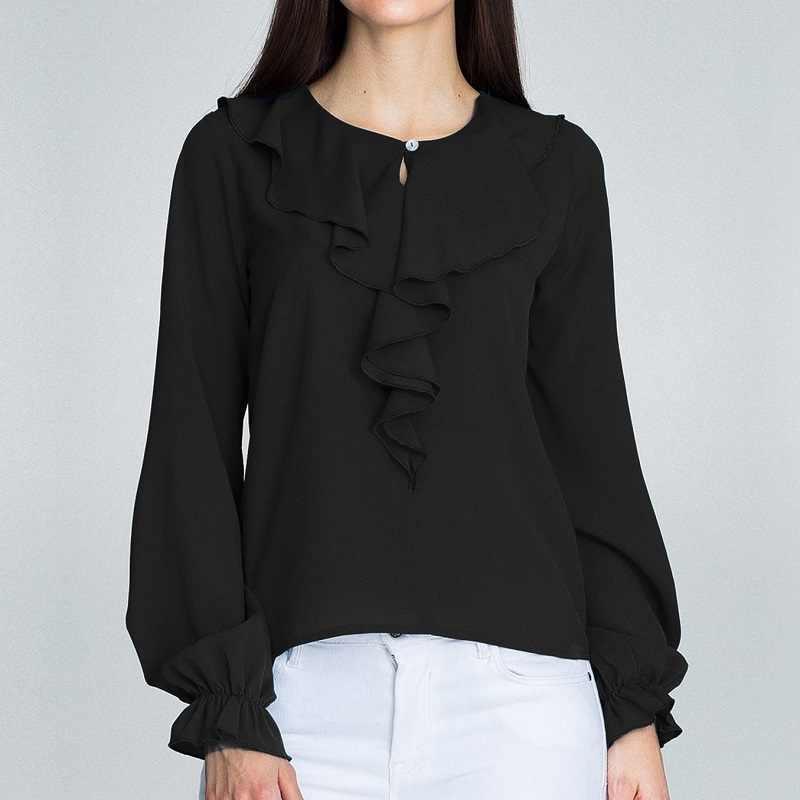 Женские рубашки осенние черные повседневные шифоновые блузки с круглым вырезом и оборками женские Топы Camisa Feminina женские блузки с длинными рукавами-фонариками