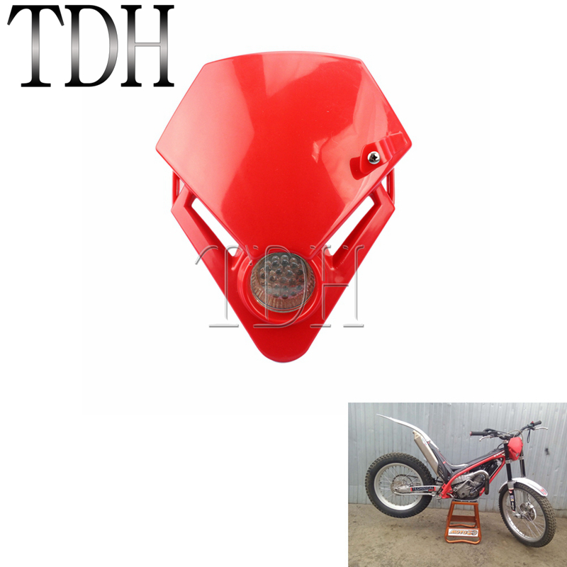 Motocross Mini Triangle Headlight Motorcycle Dirt Bike Red LED Headlamp Enduro Supermoto For Gas Gas TXT Pro EC 280 125 250 300