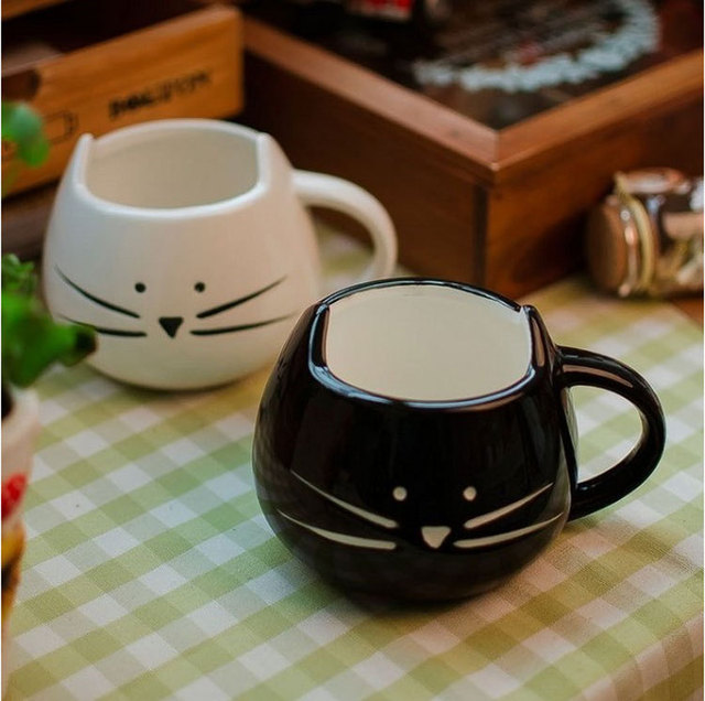 Lovers Coffee Tea Cup Black And White Cat mug