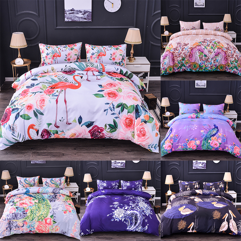 Boniu 3D Animal Comforter Bedding Sets Peacock Flamingo Horse Waterfowl Pattern Duvet Cover 3pcs Oil Print King Size Quilt Cover(China)