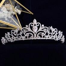 High End Prinses Koningin Volledige Zirkoon Tiaras Kronen Voor Bruiden Parels Bruiloft Haarbanden Crystal Trouwjurk Accessoires