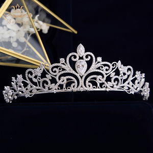 Image 1 - נסיכה high end מלכת מלא זירקון מצנפות כתרים עבור כלות פניני חתונת Hairbands קריסטל חתונה שמלת אביזרי