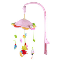 Baby Stroller Crib Pram Bed Hanging Toy Accessories Musical Baby Rattles Mobiles Rotating Plush music Soothing Wind chimes Toy
