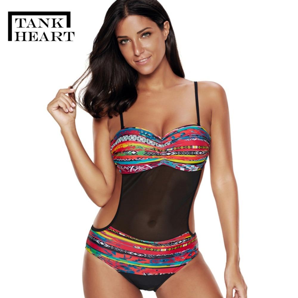 Sexy Mesh Trikini One-Piece Suits Monokini Plus Size Swimwear Large Sizes One Piece Swimsuit Female Women Badpak Swim Suit 3XL