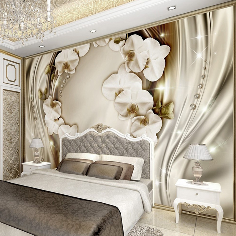 High Quality European Style Luxury Wallpaper 3D Stereo Relief Orchid Silk Photo Wall Mural Living Room Bedroom Papel De Parede free shipping swan lake blue 3d stereo background wall bedroom living room mural 3d high quality office wallpaper