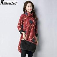 KEKURILY Women Winter Warm Shirt Dress Velvet Elegant Vintage New Year S Female Black Red Party