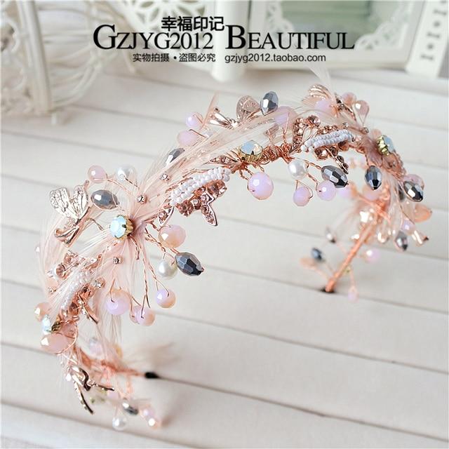 Korean brides retro fascinator rose gold hair hoop pearl crystal butterfly  hair dress accessories f46 ed4155f0eab
