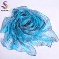 Голубой шелковые шарфы печатных 2016 новинка мода аксессуары 100% чистого шелка длинные шарфы 170 * 110 см длинные пейсли шарфы