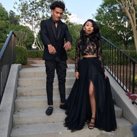 Prom Dresses Formal Evening Party Pageant Gowns African Two Pieces Long Sleeve High Neck Dubai Arbic Cheap Black Girl Couple Day