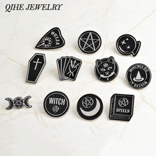 Ouija witch triple moon dagger heart crystal ball spells witches do it better coffin Pin Enamel lapel pin Badge Witch banner(China)