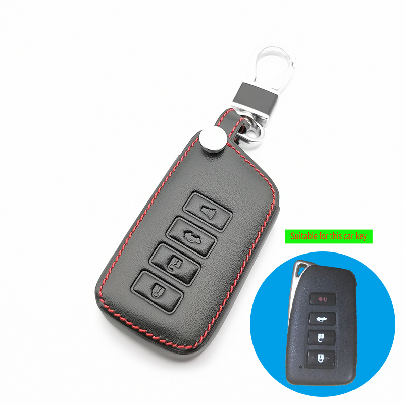 Leather Key Fob Case <font><b>Cover</b></font> For <font><b>Lexus</b></font> ES350 GS350 GS450h IS250 RC350 NX200T <font><b>NX300h</b></font> LX570 4 Buttons <font><b>Car</b></font> Remote Holder Protector image