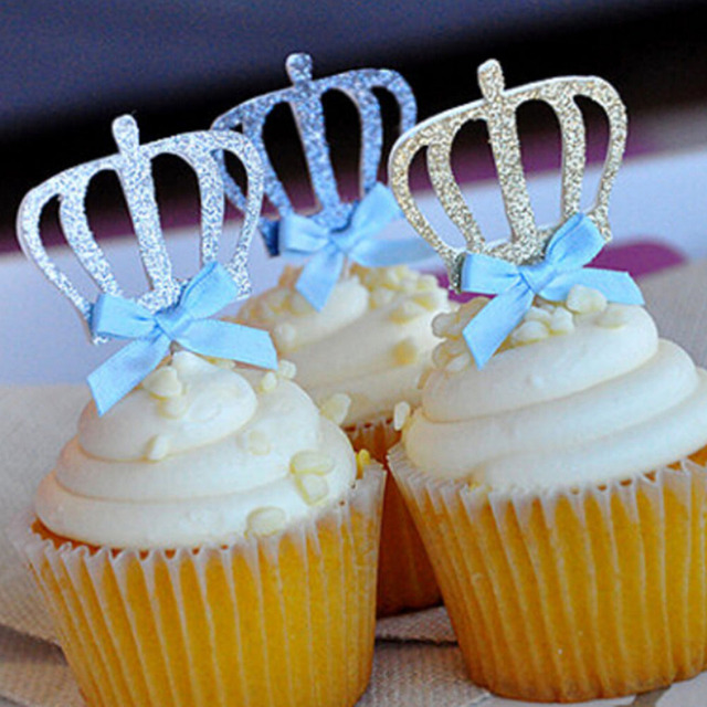 1 Pcs Bowtie Crown Cake Topper Dessert Cake Cupcake Stand For