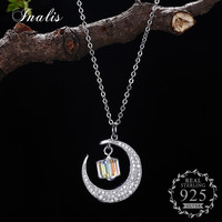 INALIS 2018 LEKANI Crystals from Swarovski Necklace 925 Sterling Silver Moon Pendant Necklaces for Women Fine Jewelry Gift