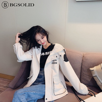 New spring 2019 student loose fitting short overalls gangneung hooded couple jackets