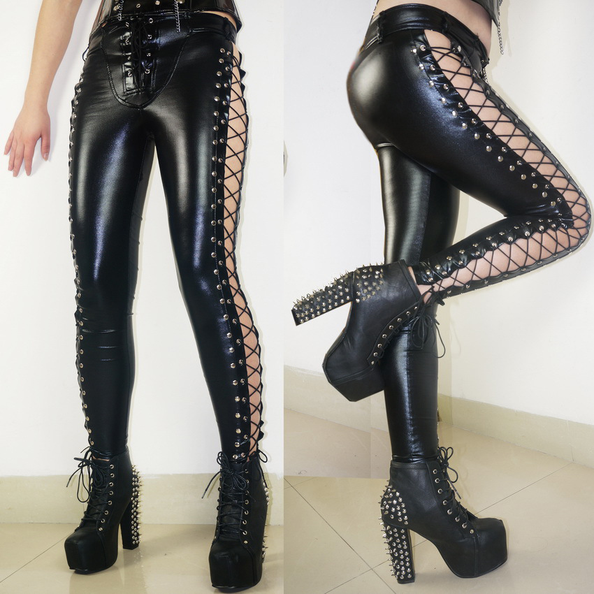 Women Club Sexy Skinny Leggings 2017 New Lace Up On The Sides High Quality Wetlook Faux Leather Pencil Rock Steampunk Punk Pants