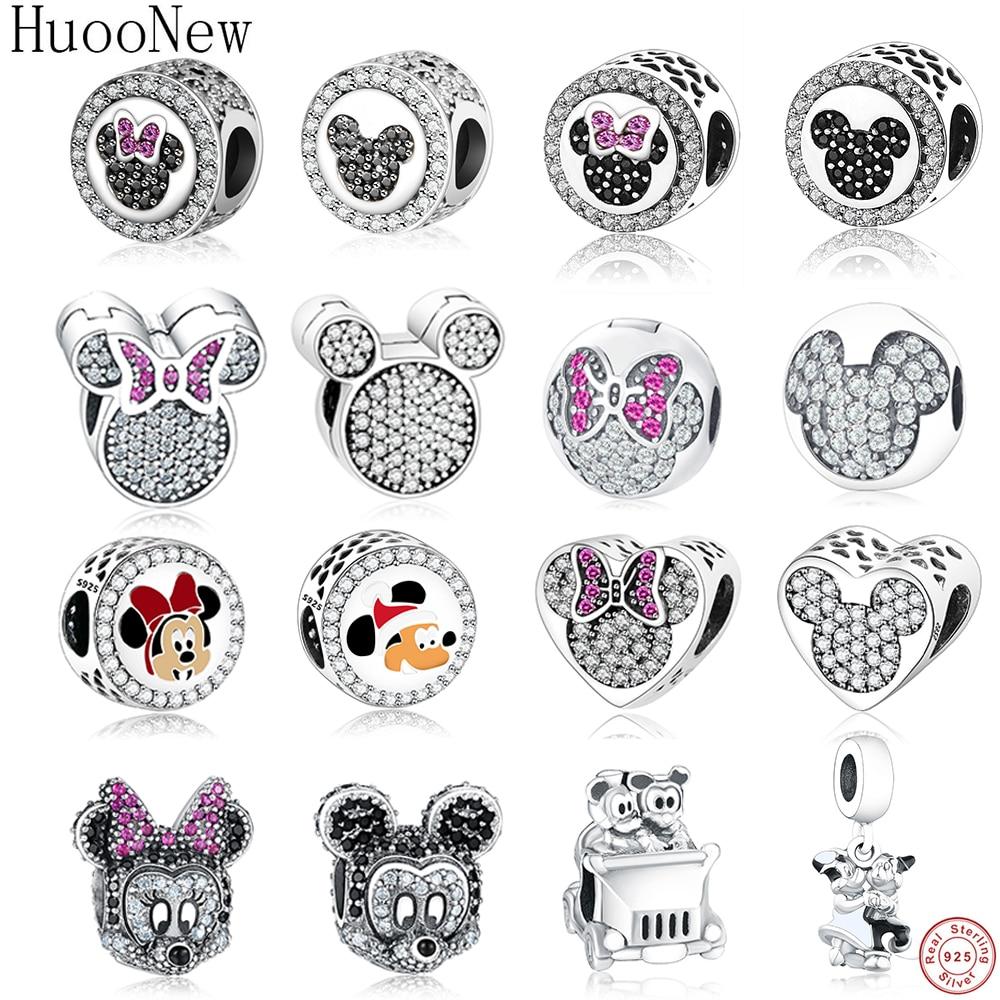 Limpar Pink Crystal Mickey Minnie Bow Clipe Stopper Bead Fit Encantos Pulseira 925 Jóias de Prata Esterlina Berloque Pandora Originais