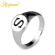 Ajojewel Size 9-11 New Male Jewelry 18K White Gold Plated Classic S Letter Rings For Men