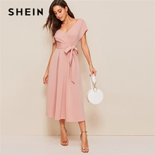 SHEIN Zipper Back Surplice Neck Belted Flare Dress Elegant Women Summer Dress Solid Deep V Neck High Waist Dress