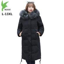 Hiver doudoune femmes Super grande taille col en fourrure hauts à capuche L-13XL épais chaud blanc canard vers le bas manteau femelle 150 KG peut être porté