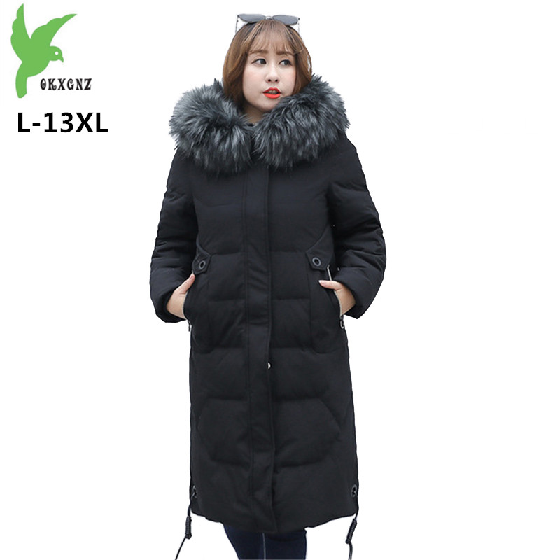 Winter   Down   jacket Women Super Large size Fur collar Hooded Tops L-13XL Thick Warm White duck   down     Coat   Female 150KG can be worn