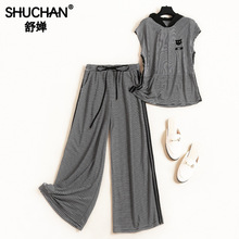 Shuchan Summer Clothes for Women Tracksuit Ensemble Femme Top with Hooded +wide Leg Pants Elastic Waist Women 2 Piece Set 11667