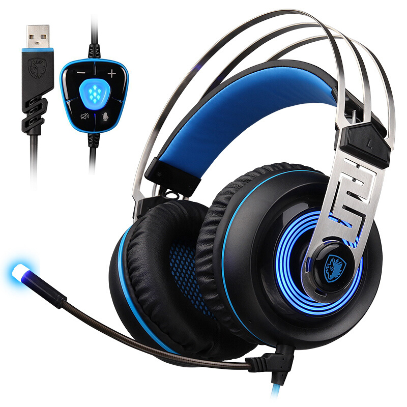 SADES A7 USB 게임용 헤드폰 유선 헤드셋 7.1 마이크가있는 가상 사운드 지능형 소음 차단 LED 라이트
