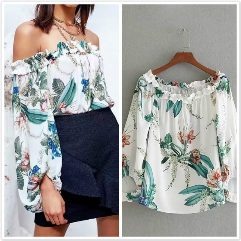 Women's Summer Blouses Off shoulder Tops Female Loose Floral Print Top Femme Ruffle Beach Blouse And Shirts Flower Print 2018