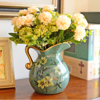 European pastoral ceramic small vase home living room decoration vase and artificial flower set vase container Single ear vase
