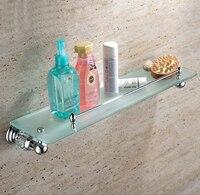Crystal & Brass chrome plated glass shelf with built in crystal single tier wall shelf bathroom shelf GY012