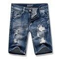 Новые 2017 летние джинсовые шорты мужские джинсы мужчин джинсовые шорты-бермуды Повседневная Тонкий Прямой Отверстие Разорвал Короткие Джинсы Для Мужчин