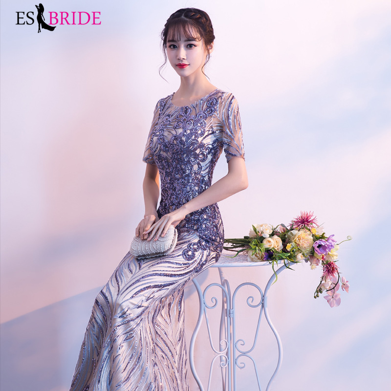 New Arrival Long   Evening     Dresses   2019 Purple Fashion Sexy A Line O-Neck Tulle Wedding Party Gowns Robe De Soiree Longue ES1352