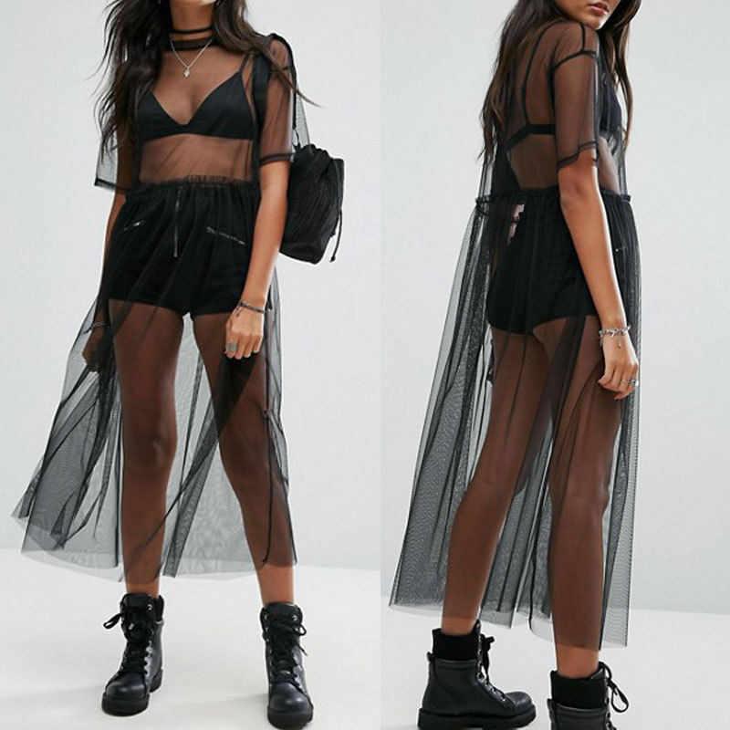 Kobiety Sexy czarny przezroczysty Mesh Top lato Sheer długie koszulki